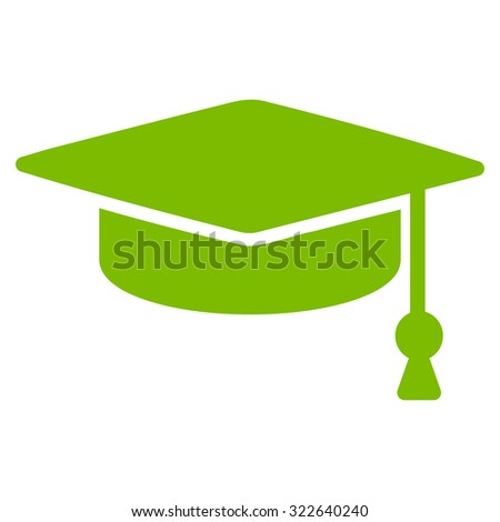 Graduation Cap glyph icon. Style is flat symbol, eco green color, rounded angles, white background.