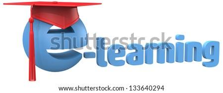 graduation cap on e-learning education school or online tutorial symbol - stock photo