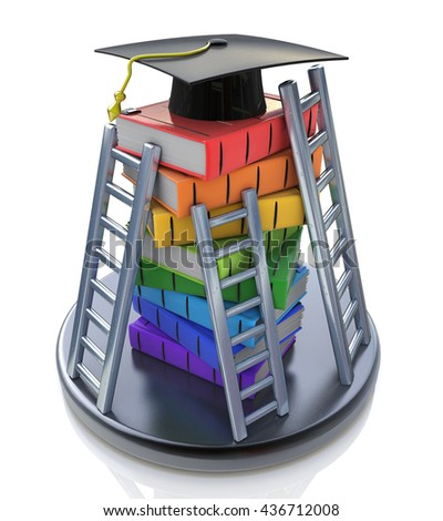 Graduation cap on the top of stack of books with ladders - Books step education in the design of information related to education. 3d illustration - stock photo