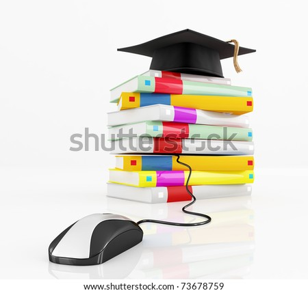 graduation cap  over a stack of book  isolated on white - rendering - stock photo