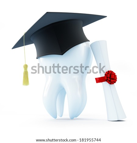 graduation cap tooth diploma dentist on a white background - stock photo