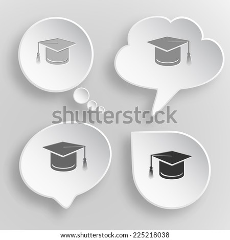 Graduation cap. White flat raster buttons on gray background. - stock photo