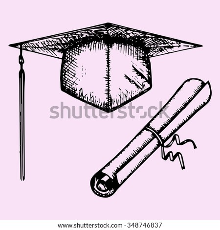 Graduation Cap with Degree and diploma, doodle style, sketch illustration, hand drawn, raster