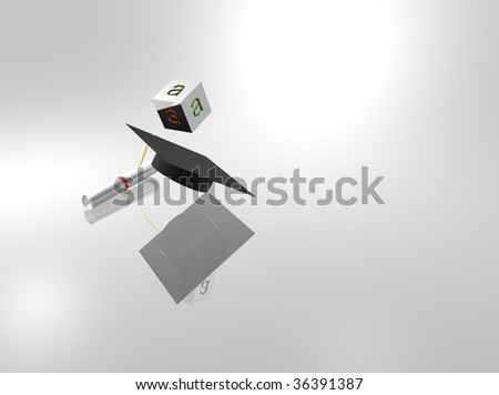 Graduation cap with diploma and block