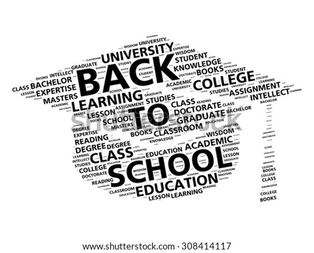 Graduation cap word cloud for going back to school