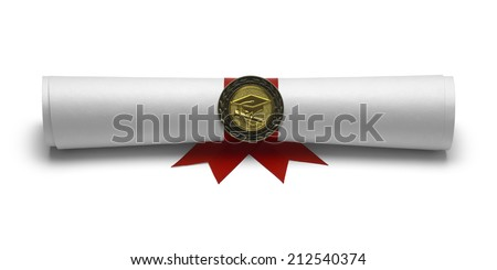 Graduation Degree Scroll with Medal Isolated on White Background. - stock photo