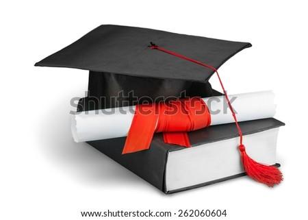 Graduation. diploma and graduation cap  - stock photo