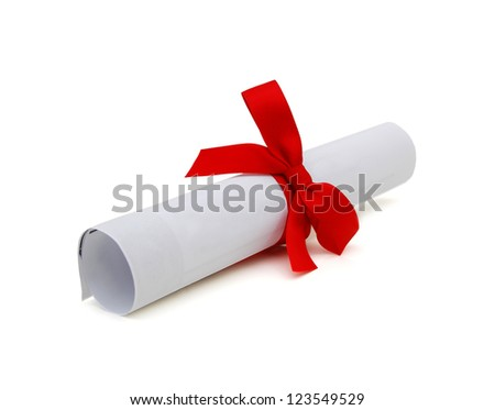 Graduation diploma scroll tied with red ribbon isolated on white background