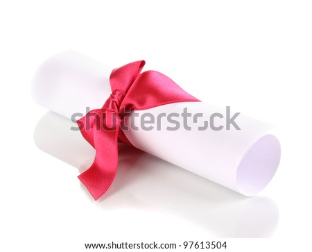 Graduation diploma tied with ribbon isolated on white - stock photo