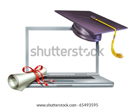 Graduation education internet web online diploma isolated