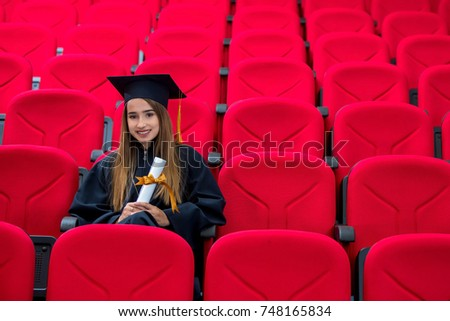 Graduation, education, portrait, red conference room, concept, portrait