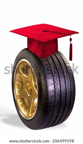 Graduation gift of a new car. - stock photo