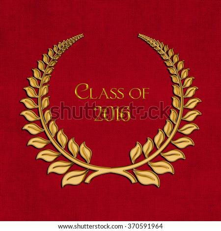 graduation 2016 gold laurel symbol on textured red background - stock photo