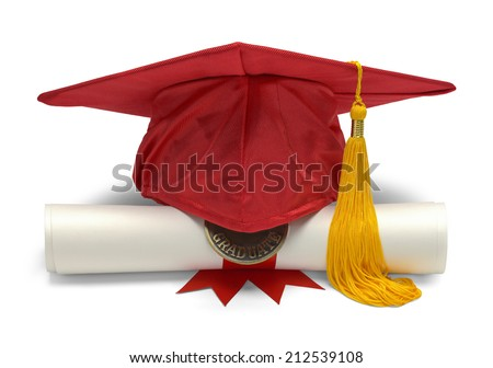 Graduation Hat and Diploma Front View Isolated on White Background. - stock photo