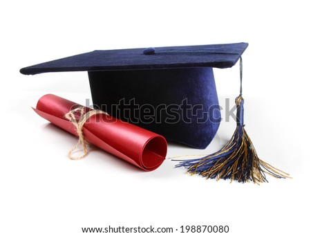 graduation hat and diploma isolated on white - stock photo