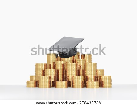 Graduation hat is laying on the coins pyramid. A concept of a high price for the university education. - stock photo
