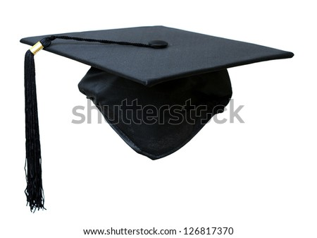 graduation hat isolated on white background - stock photo