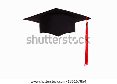 Graduation hat isolated on white background - stock photo