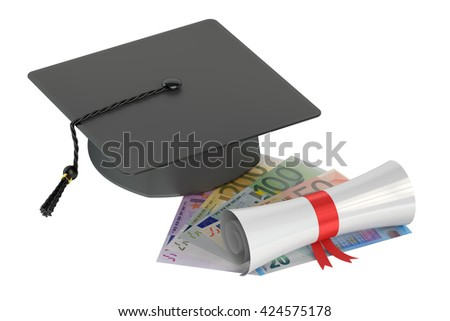 Graduation hat, money and scroll, 3D rendering isolated on white background