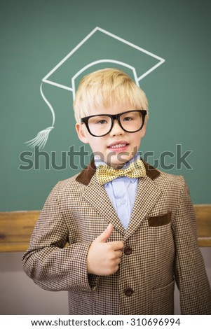 Graduation hat vector against cute pupil dressed up as teacher in classroom - stock photo