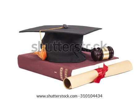Graduation Hat with Diploma,Judge gavel and book isolated - stock photo