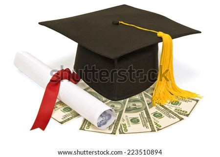 Graduation Hat With Money And Diploma/ Isolated On White - stock photo