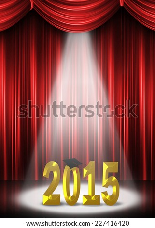graduation 2015 in the spotlight on stage with red curtain background - stock photo