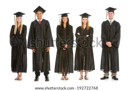 Graduation: Line Of Happy and Smiling High School Graduates - stock photo