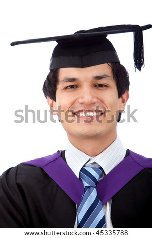 Graduation man isolated over a white background
