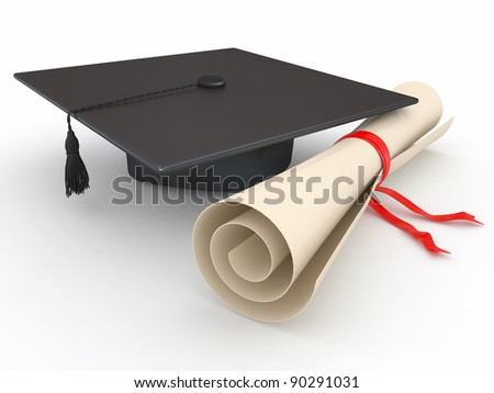 Graduation. Mortarboard and diploma on white background. 3d - stock photo