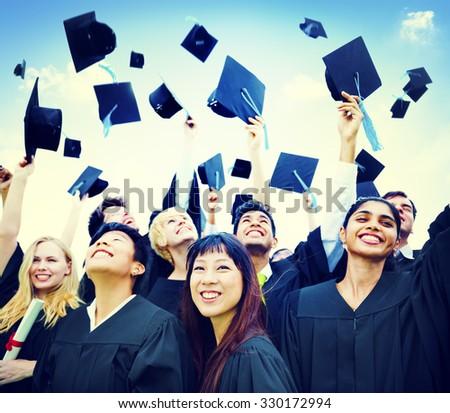 Graduation Students Success Education Happiness Concept - stock photo