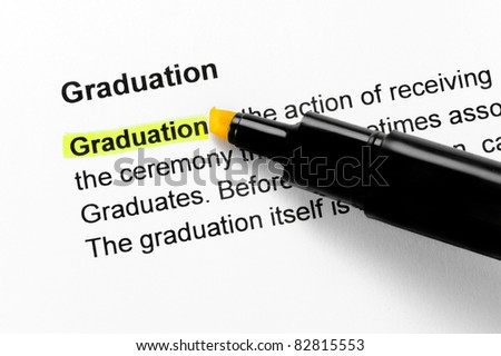 Graduation text highlighted in yellow, under the same heading