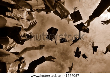 Graduation Throwing Cap - stock photo