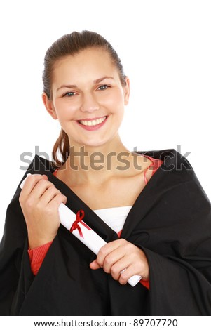 graduation woman portrait smiling, isolated on white background - stock photo