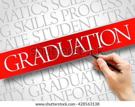 GRADUATION word cloud, education business concept - stock photo