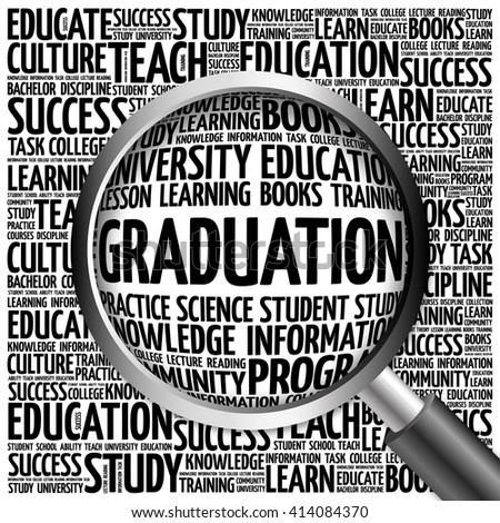 GRADUATION word cloud with magnifying glass, concept