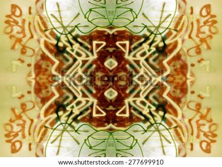 Graffiti Abstract design motif of reflected graffiti elements. - stock photo