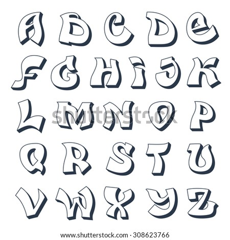 Graffiti Alphabet Cool Street Style Font Stock Illustration