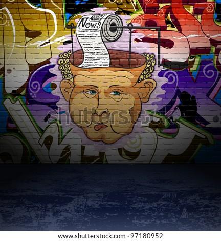 Graffiti art background, urban street wall grunge art design - stock photo