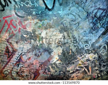 Graffiti background, grunge illustration - stock photo