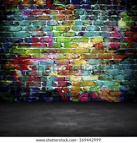 graffiti brick wall stock illustration 169442999