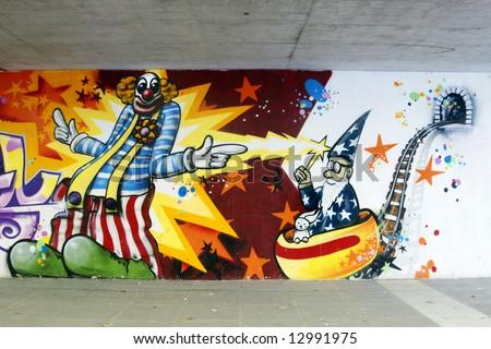 Graffiti: Clown and wizard - stock photo