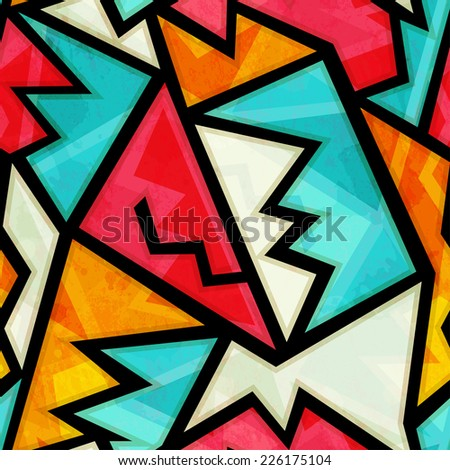 graffiti colorful geometric seamless pattern with grunge effect (raster version) - stock photo