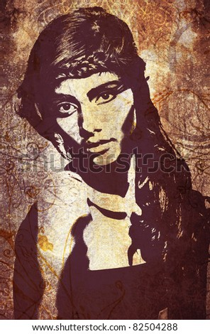 graffiti fashion illustration of a beautiful woman with long hair on wall texture with grunge effect - stock photo