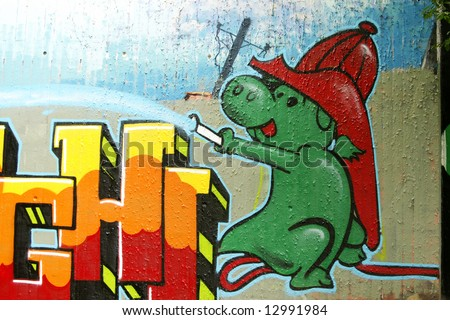 Graffiti: Grisu the dragon spilling water