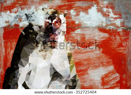 Graffiti of a Macaque monkey on a grungy red color wall.  - stock photo
