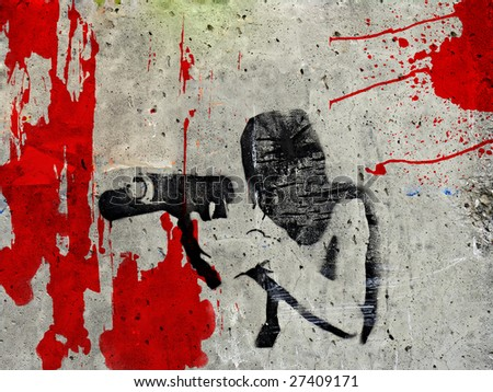 Graffiti of man under the mask holding gun preparing to fire - stock photo