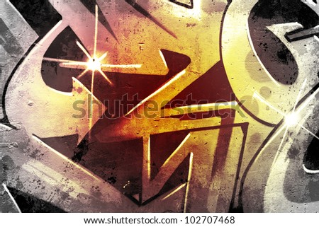 Graffiti over old dirty wall, urban hip hop background Gray texture painted with bright colorful - stock photo