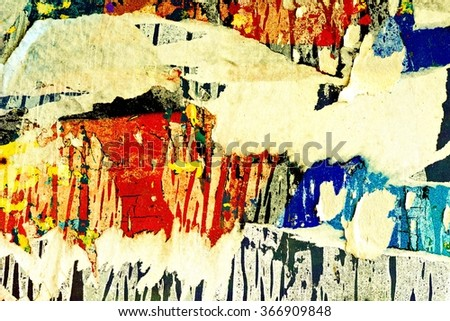 Graffiti / Peeling paint / Torn posters and ripped paper - stock photo