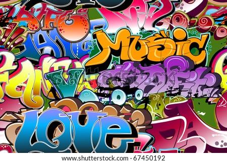 Graffiti seamless background. Urban art texture - stock photo